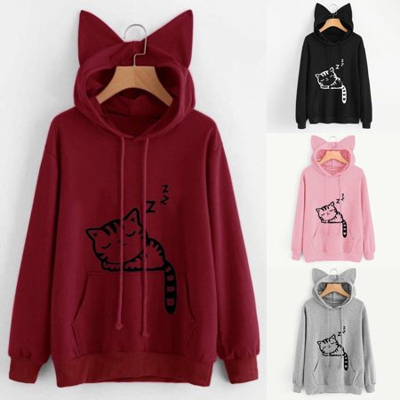 Women Cat Ear Girls Hoodie Sweatshirt Hooded Coat Pullover Tops Blouse - Hoodie With Ears