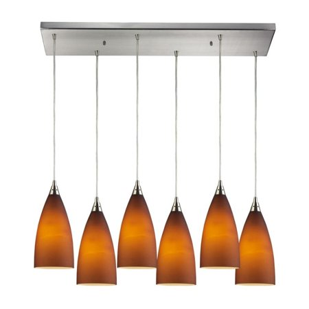 Elk Lighting Vesta 6 Light Pendant in Satin Nickel and Tobacco