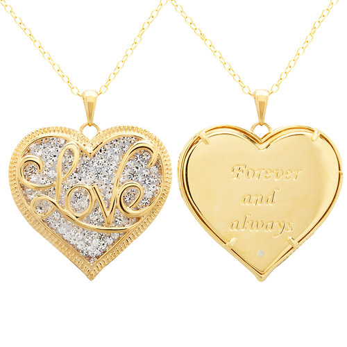 "Luminesse 18kt Gold over Sterling Silver ""Love"" Heart Pendant made with Swarovski Elements, 18"""