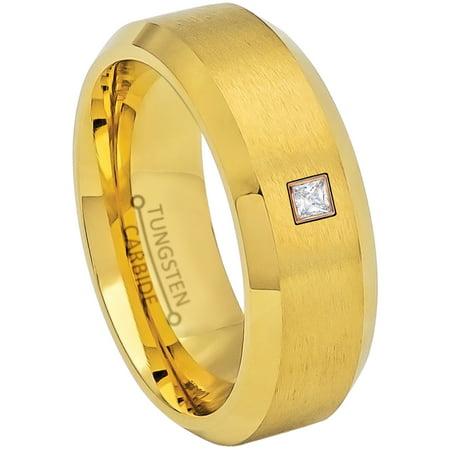0.05ctw Princess Cut Diamond Tungsten Ring - 8MM Brushed Yellow Gold IP Beveled Edge Tungsten Carbide Wedding Band - April Birthstone Ring - 14kt Rose Gold Bezel - TN210PSRG-1WDs12.5 Edge 8mm Tungsten Carbide Ring