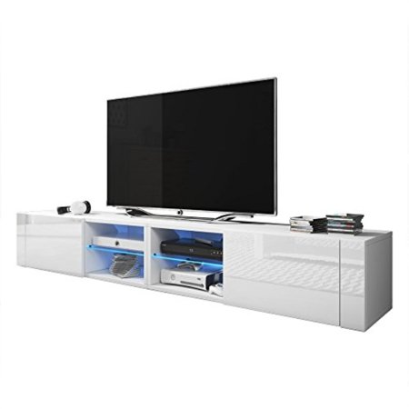"Meble Furniture and Rugs TV Stand Best Matte Body High Gloss Doors Modern TV Stand LED White, 79"" Double"