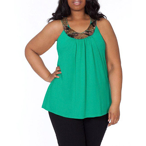 Plus Moda Women's Plus-Size Embellished Swing Tank