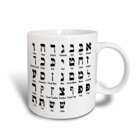 (3dRose Print of The Hebrew Alphabet, Ceramic Mug, 15-ounce)