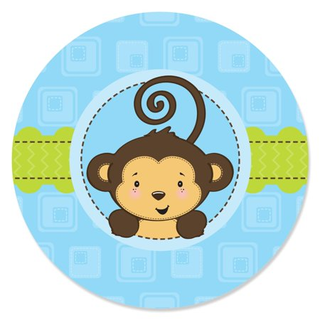 Monkey Boy - Party Circle Sticker Labels - 24 Count