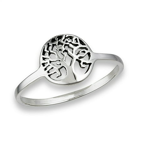 Oxidized Filigree Tree of Life Ring New .925 Sterling Silver Band Size 8