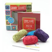 Granny Squares, One Square at a Time / Amulet Bag Kit : Includes hook and yarn for making two amulet bag necklaces - Featuring a 32-page book with instructions and ideas