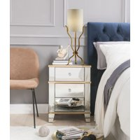 ACME Osma 3 Storage Drawers Nightstand in Mirrored and Gold