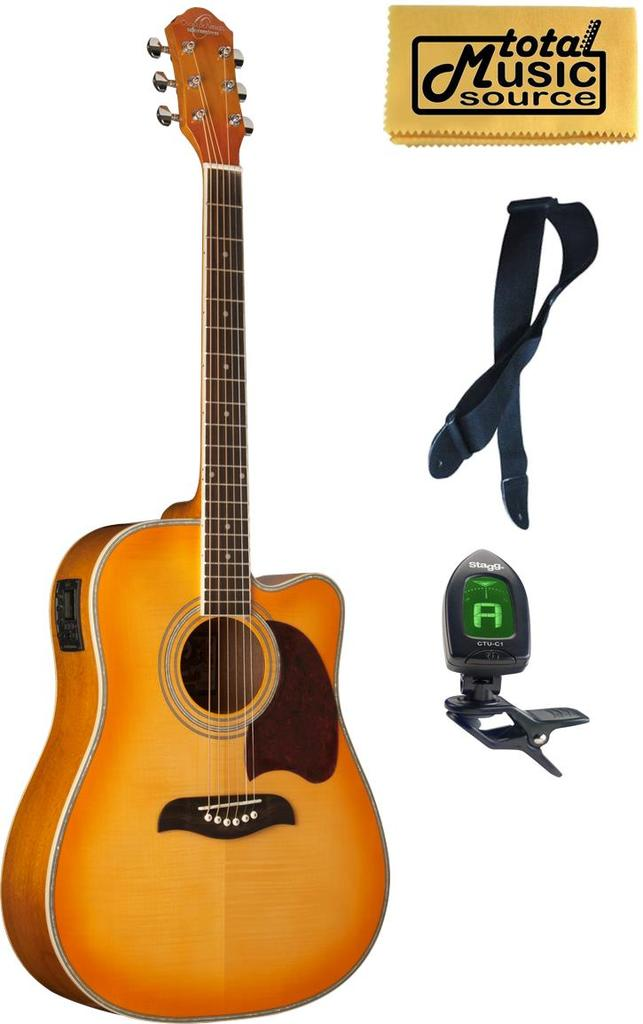Oscar Schmidt Acoustic Elecric Guitar, Flame Yellow Sun Burst, OG2CEFYS COMP by Oscar Schmidt