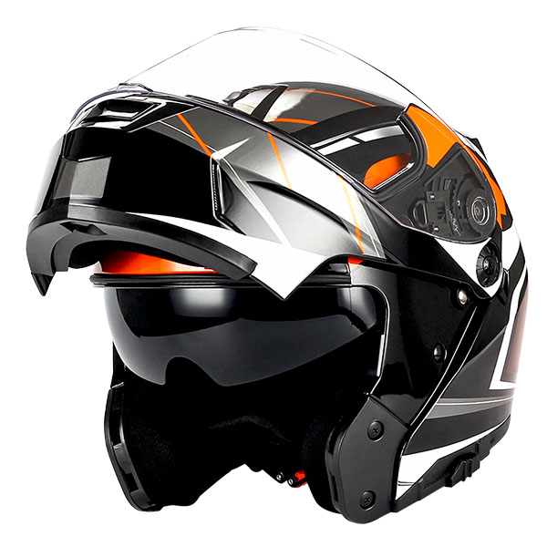 1Storm Motorcycle Modular Full Face Helmet Street Bike Flip up Dual Visor/Sun Shield Racing; Carbon Fiber Black
