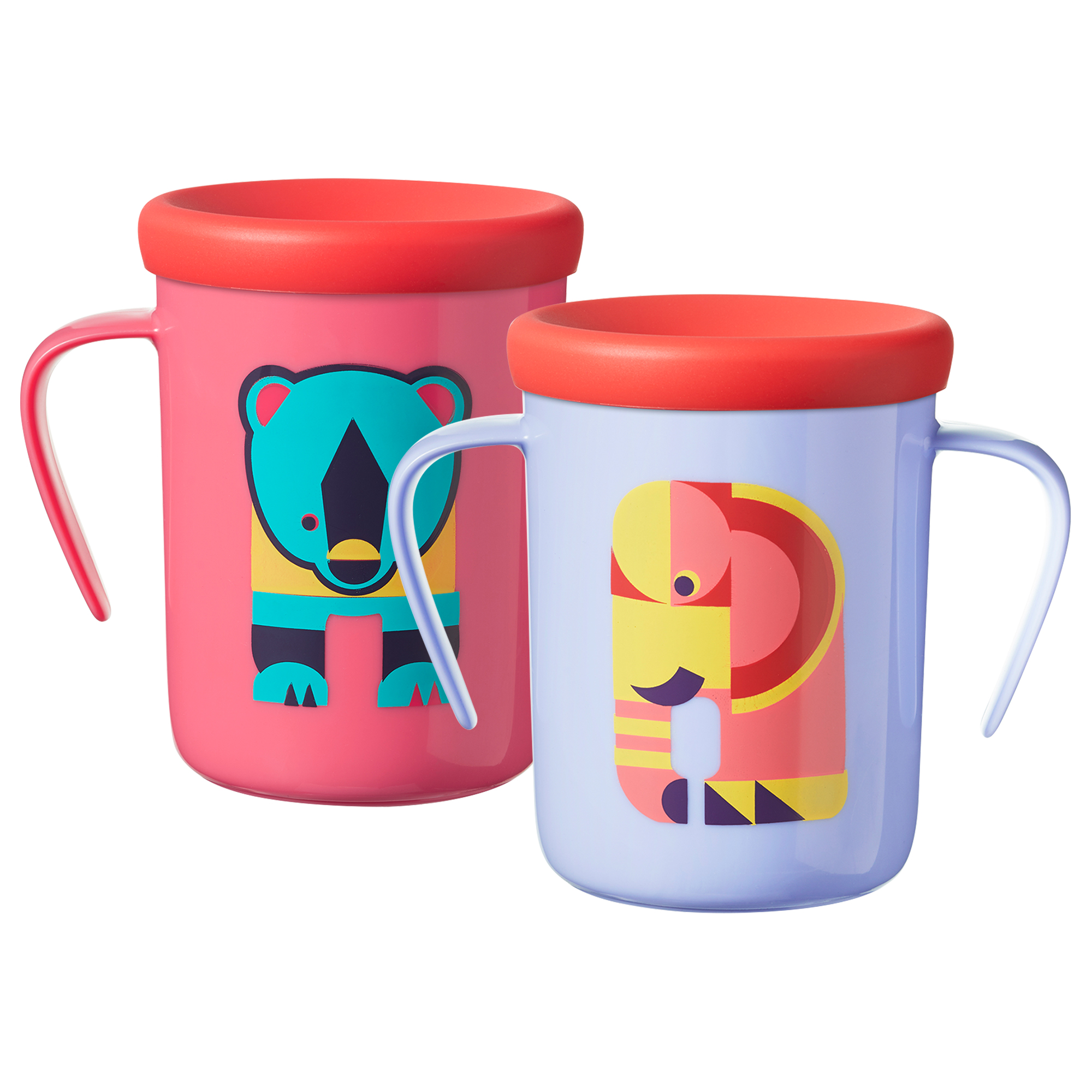 Tommee Tippee Easiflow 360� Spill-Proof Trainer Cup with Travel Lid, Elephant & Bear � 7oz, 6+ months, 2pk by Tommee Tippee