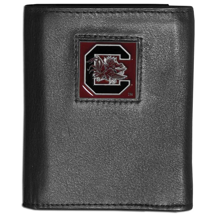 South Carolina Gamecocks Deluxe Leather Tri-fold Wallet Packaged in Gift Box (F)