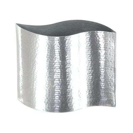 Decmode Industrial 7 x 8 inch wavy hammered stainless steel vase, Silver