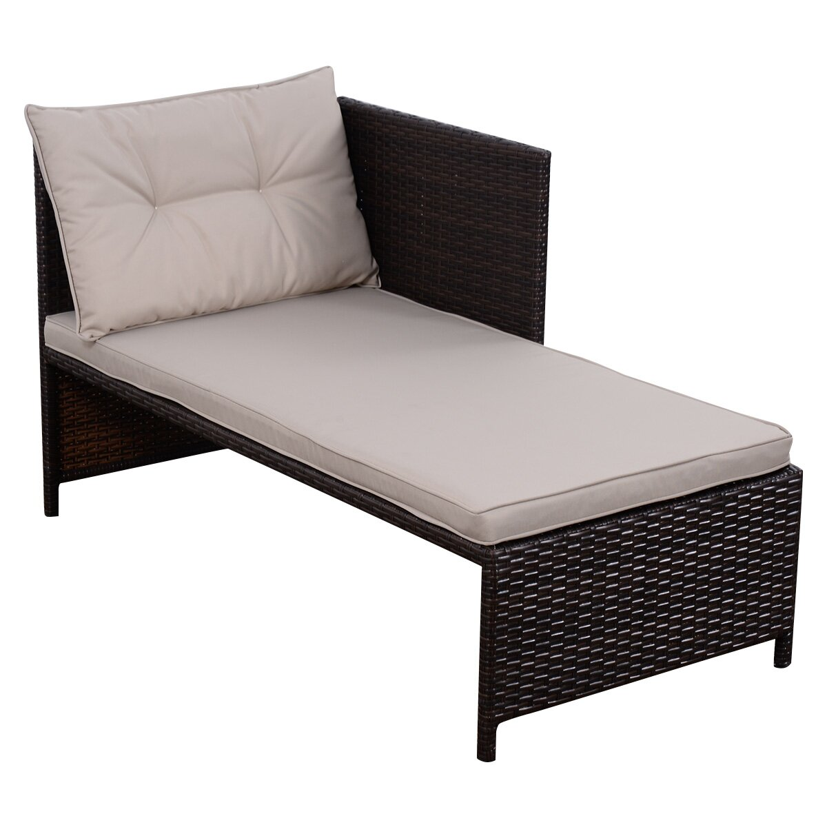 Gymax 3PC Rattan Furniture Sofa Lounge Chaise Set Outdoor Patio