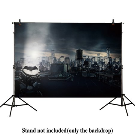 HelloDecor Polyster 7x5ft photography backdrops superhero super bat city night buildings children birthday party event banner photo studio booth background baby shower - Cool Superhero Backgrounds