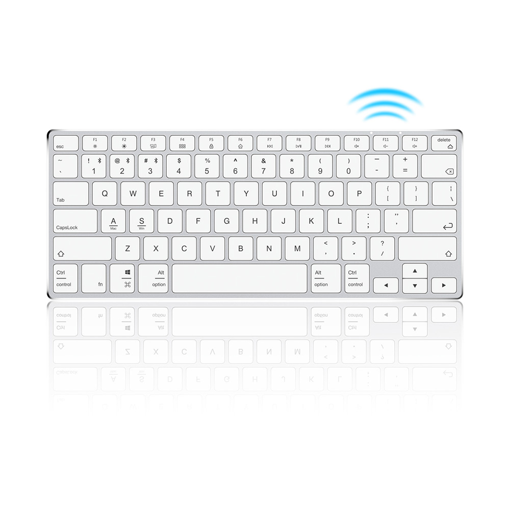 Ajazz AK3.1 Ultra-thin BT Keyboard 78 Keys Rechargeable Ergonomic Metal Panel Mini Keyboard For Phone PC Laptop Tablet
