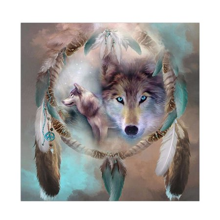 KABOER 5D Dream Catcher Double Wolf DIY Round Diamond Painting Animals Embroidery Full Drill Craft Decor Cross Stitch (Dreams Embroidery)