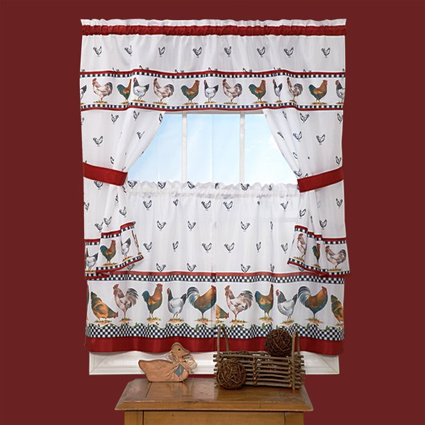 Woven Trends 5 Piece Kitchen Curtain Cottage Set Ruffled Window Cafe Curtains With Attached Swaggers Valance And Tier Panels Rooster For Living Room Walmart Com