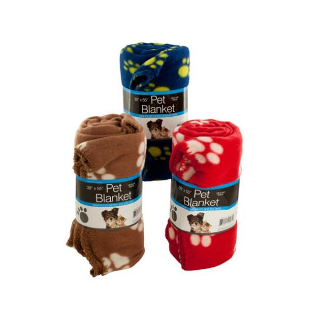 Bulk Buys OF789-9 Fleece Paw Print Pet Blanket, 9 Piece