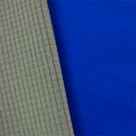 Blue/Gray Waterproof Stretch Soft Shell Grid Fleece, Fabric By the Yard