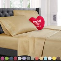 Nestl Bedding Premium 1800 Deep Pocket 4 Piece Bed Sheet Set - Hotel Luxury Double Brushed Microfiber Sheets - Wrinkle, Fade, Stain Resistant - Hypoallergenic, Queen - Silver
