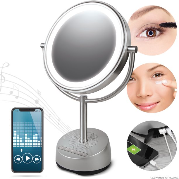 Sharper Image Bluetooth Vanity Makeup, Makeup Mirror With Light And Bluetooth Speaker