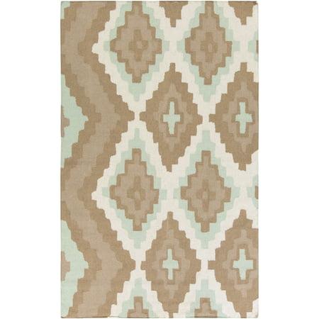 5' x 8' Anasazi Diamantes Sea Blue and Sable Brown Hand Woven Wool Area Throw Rug (Nat Sea Wool)