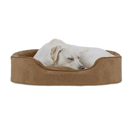 FurHaven Pet Dog Bed | Oval Terry Fleece and Suede Pet Bed for Dogs & Cats, Camel, Extra Large Camel Suede Pet Bed