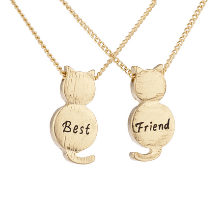 Lux Accessories Goldtone Best Friend BFF Engraved Cat Novelty BFF Necklace for 2