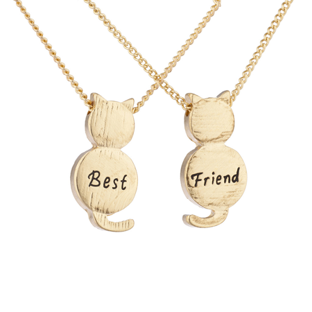 Lux Accessories Goldtone Best Friend BFF Engraved Cat Novelty BFF Necklace for