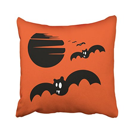 WinHome Fun Cartoon Happy Halloween Trick Or Treat Bats Orange Polyester 18 x 18 Inch Square Throw Pillow Covers With Hidden Zipper Home Sofa Cushion Decorative Pillowcases - Pillowcase Halloween Treat Bags