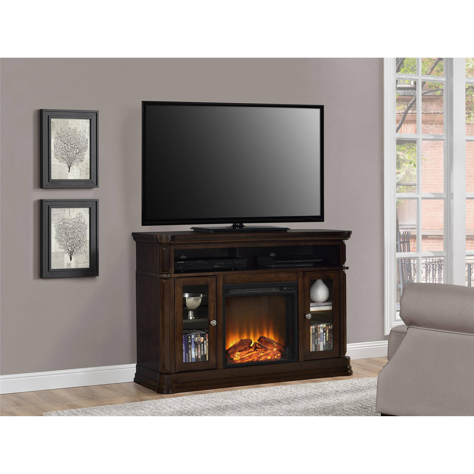 Mahogany Electric Fireplaces - Electric fireplace tv
