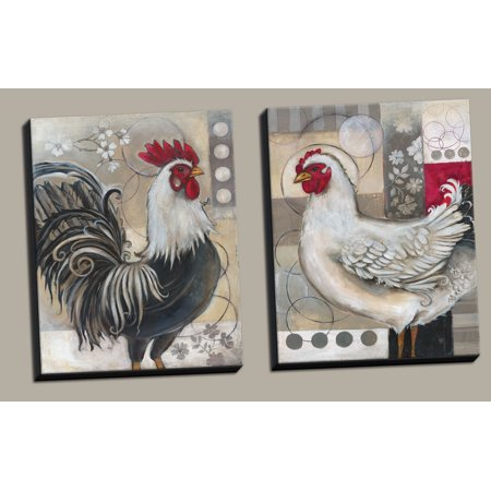 Gango Home Decor Popular Retro Rooster and Chicken Collage Kitchen Wall Art by Kimberly Poloson; Two Gray 11x14in Hand-Stretched Canvases (Ready to Hang) ()