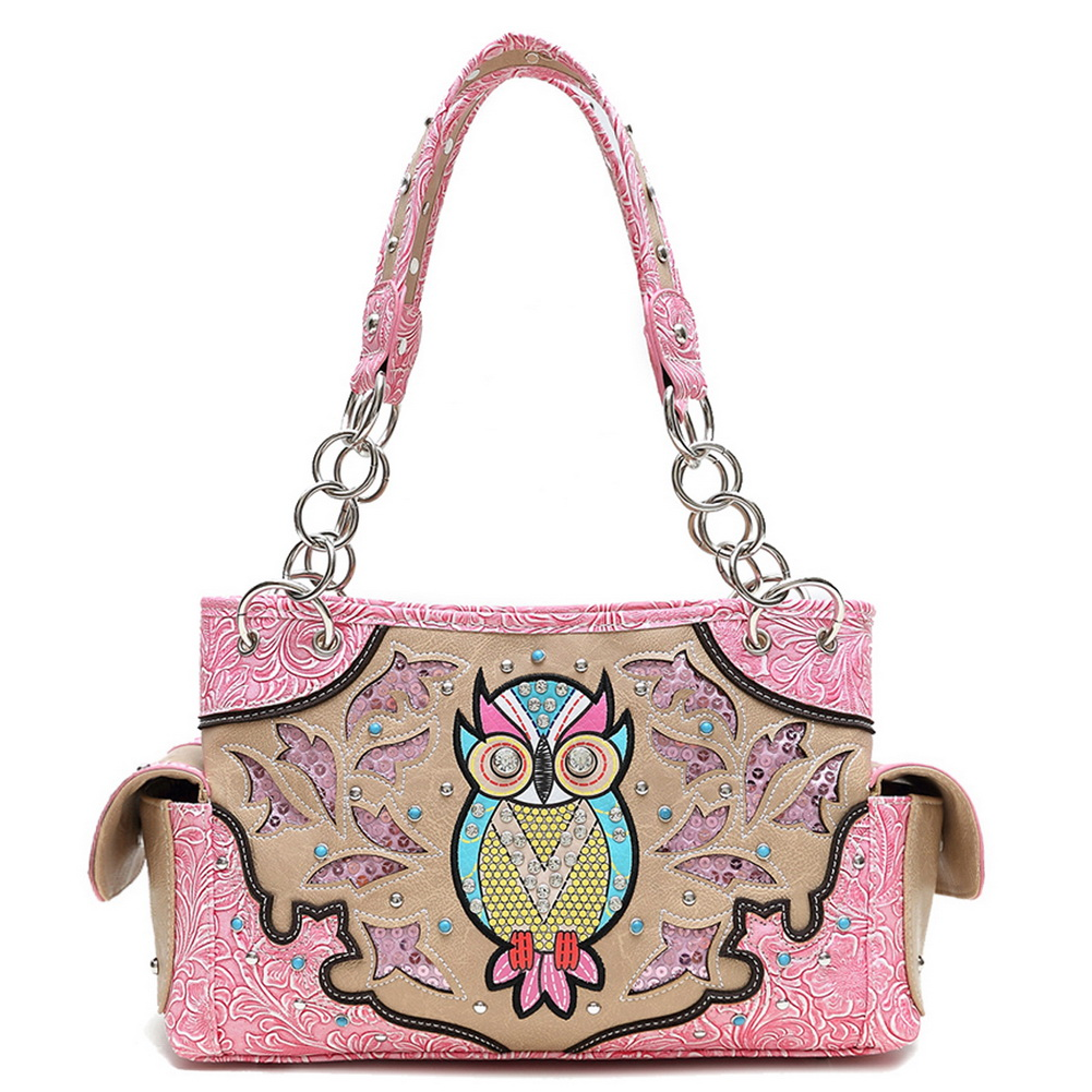 Blancho Bedding Womens [Owl] PU Leather Handbag Fashion Elegant Tote Bag Pink