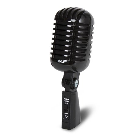 PYLE PDMICR42BK - Classic Retro Dynamic Vocal Microphone, Vintage Style Vocal Mic with 16' ft. XLR Cable (Black)](Retro Microphone Prop)