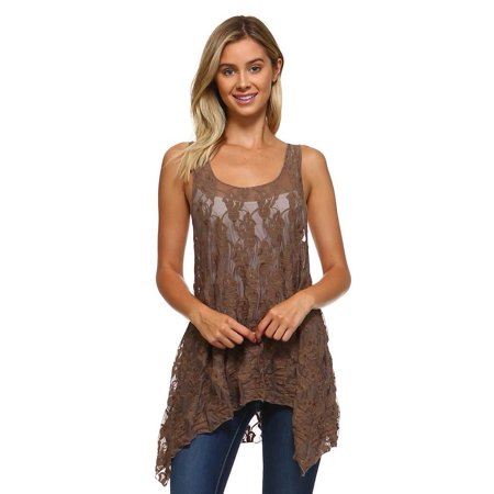 Simplicitie Women's Sleeveless Lace Flare Handkerchief Swing Tunic Tank Top - Made in USA