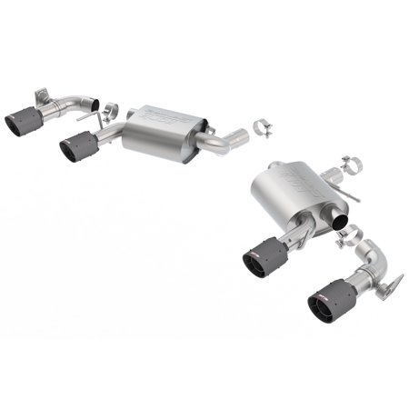 Borla Axle (Borla 11924CFBA S-Type Axle-Back Exhaust System; 2.75in. Into Muffler Dual 2.5in. Out; Incl. Mufflers/Tailpipes/Clamps/4x6.25 in. Carbon Fiber Black Round Tips; Dual Split Rear Exit; )