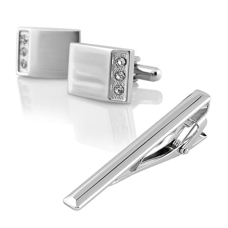 Zodaca Crystal Cuff Links Mens Wedding Party Gift Cufflinks+Simple Silver Tie Clip