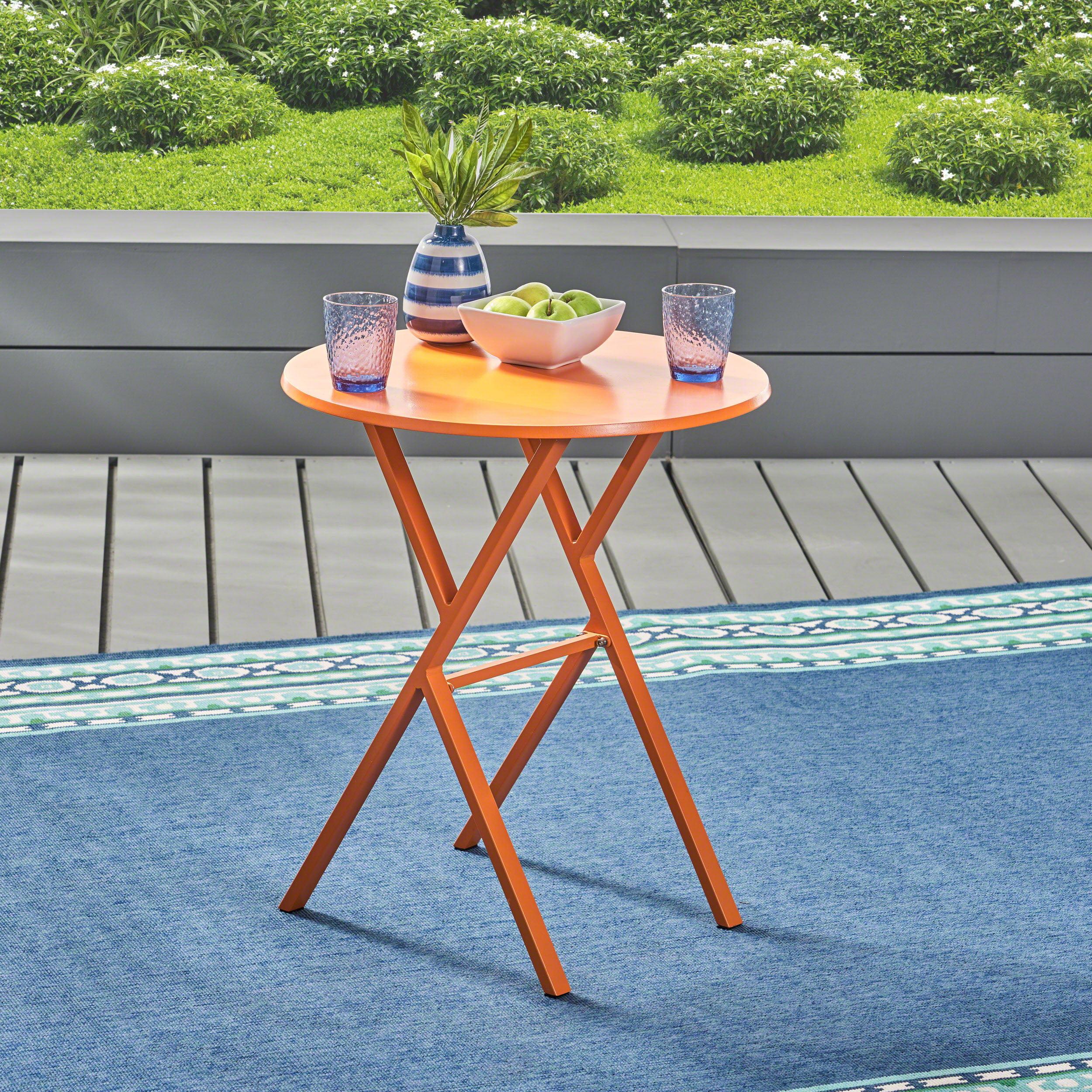 Lucy Outdoor Iron Bistro Table, Matte Orange