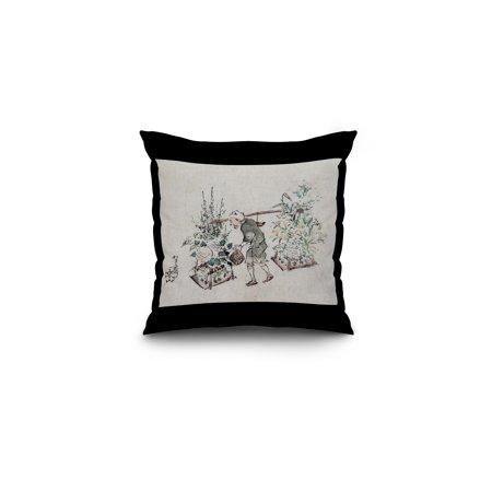 Flower Vendor Japanese Wood Cut Print 16x16 Spun Polyester Pillow Blac