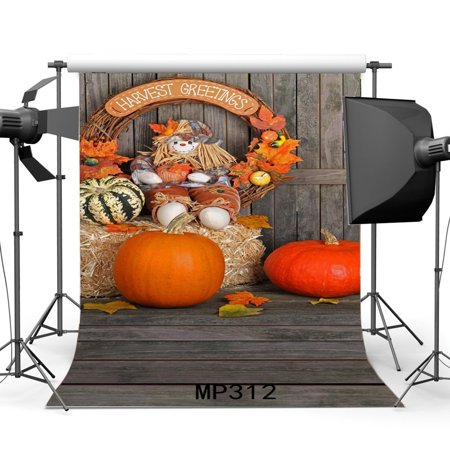 MOHome Polyster 5x7ft Autumn Backdrop Thanksgiving Happy Halloween Trick or Treat Pumpkin Harvest Greetings Straw Hay Bale Leaves Stripes Plank Photography Background Masquerade Photo Studio Props - Masquerade Backdrop
