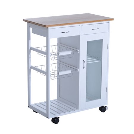 Homcom 34 Rolling Kitchen Trolley Serving Cart With Drawers