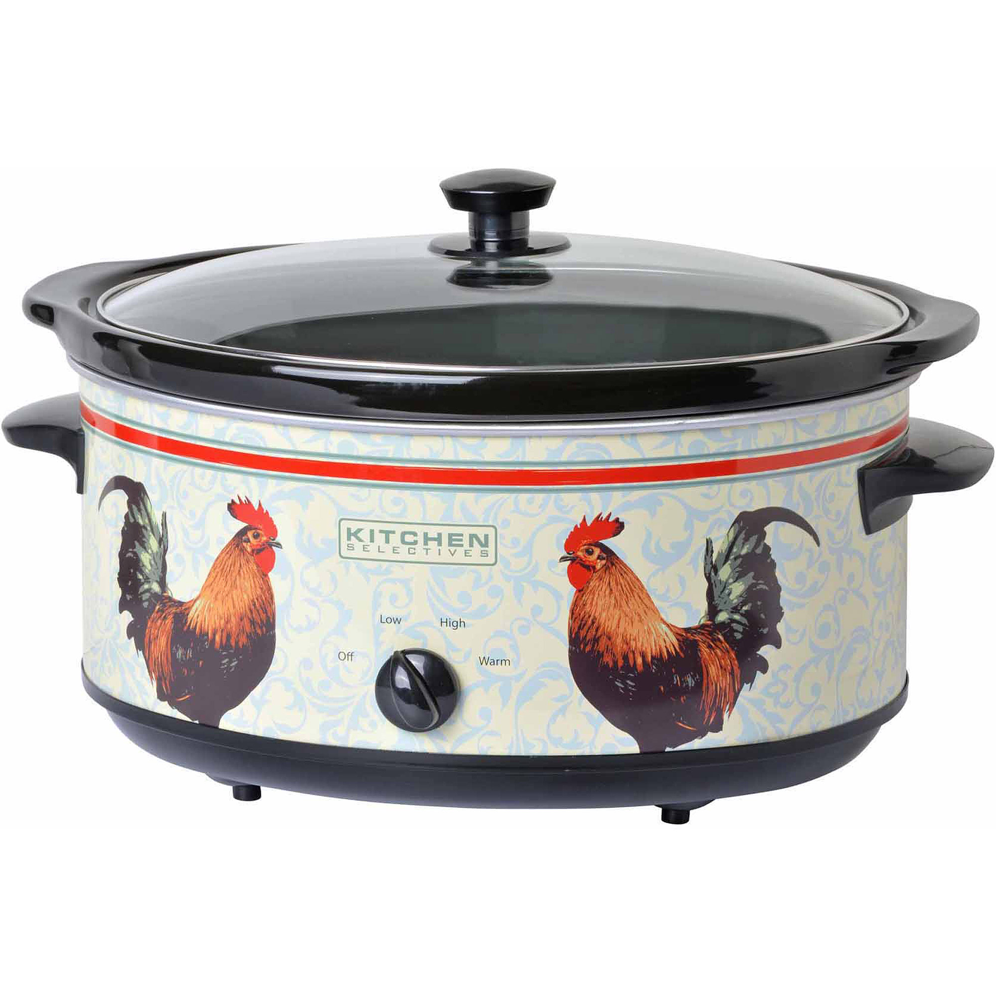 Kitchen Selectives 6.5-Quart Oval Slow Cooker, Rooster, Multi
