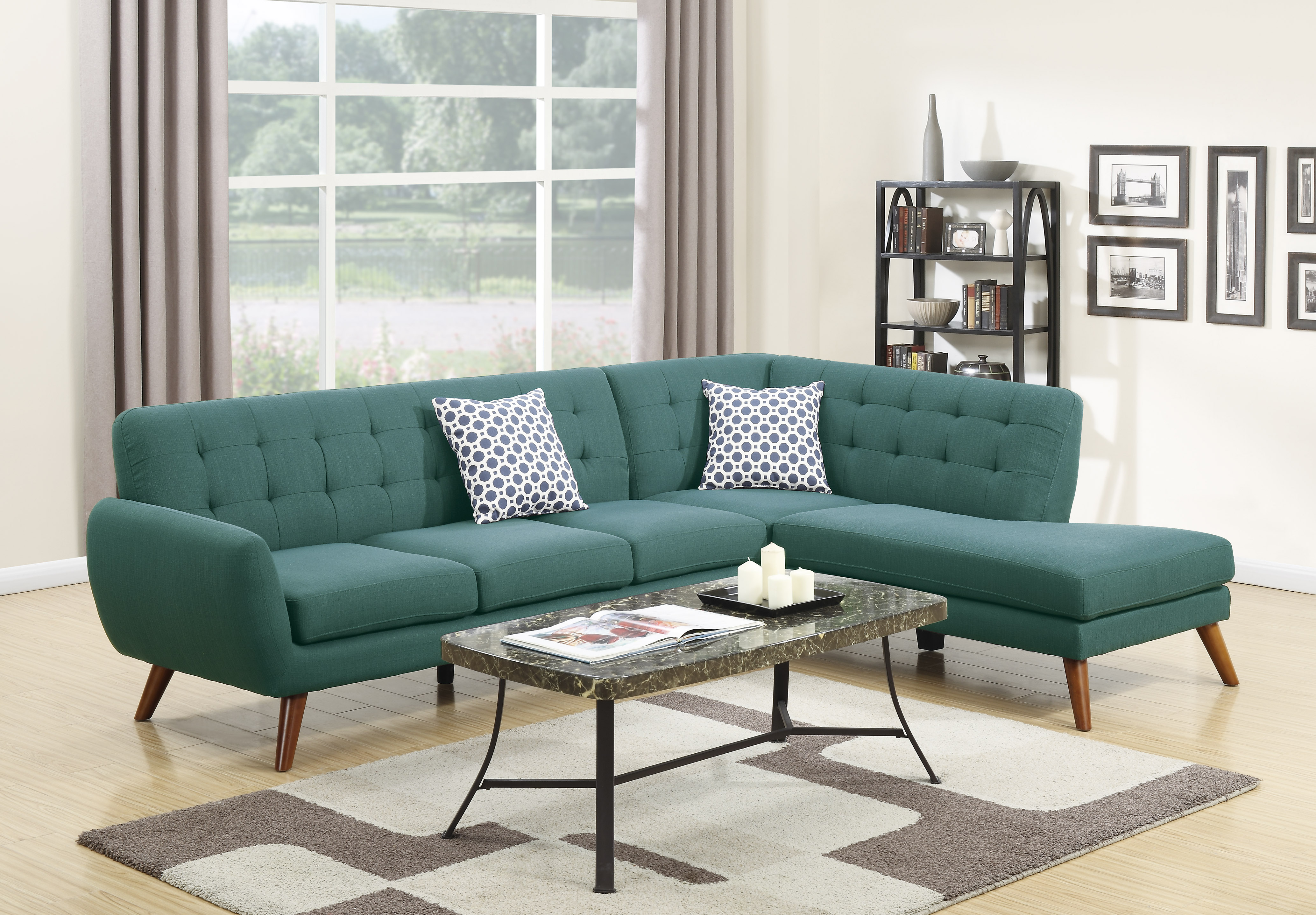 2Pcs Black Chocolate Blue Grey Polyfiber Reversible Sectional Sofa Set