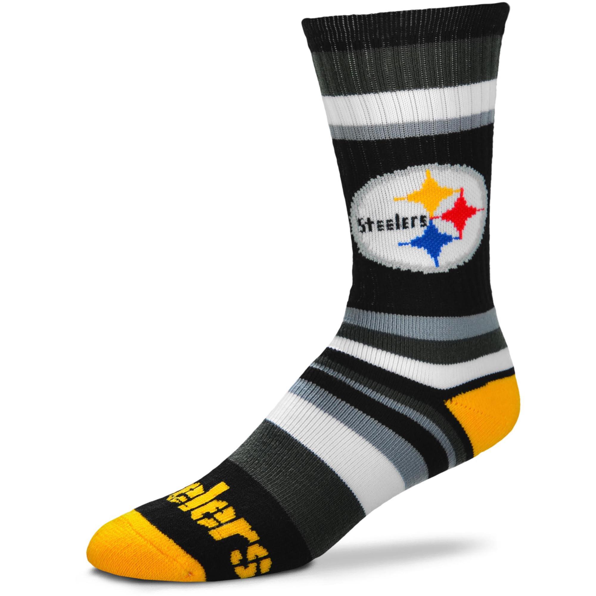 Pittsburgh Steelers For Bare Feet Rainbow Stripe Tri-Blend Crew Socks - L