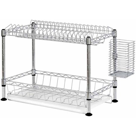 two tier wire dish rack chrome. Black Bedroom Furniture Sets. Home Design Ideas