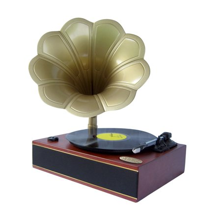 Pyle Classic Horn Phonograph/Turntable With USB-To-PC Connection And Aux-In (Mahogany)