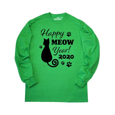 Happy Meow year with Cat and Pawprints 2020 Long Sleeve T-Shirt