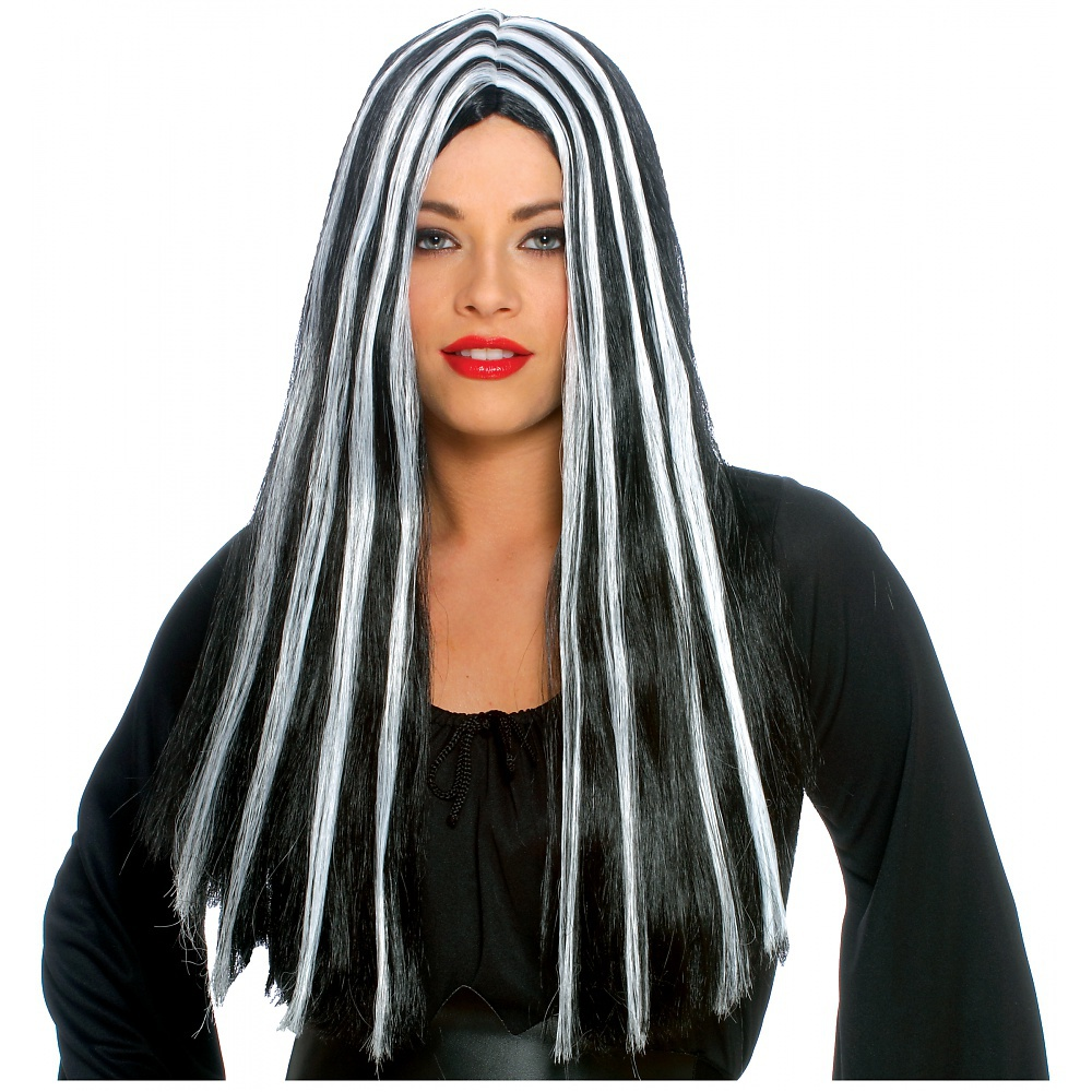 "20"" Long Parted Black and White Wig Adult Costume Accessory"