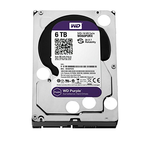 "WD WD60PURX WD Purple WD60PURX 6TB Surveillance 3.5"" Internal Hard Drive - SATA - 64 MB Buffer - 1 Pack"