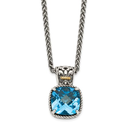 Roy Rose Jewelry Shey Couture Collection Sterling Silver with 14K Yellow Gold Blue Topaz Necklace 18